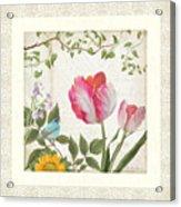 Les Magnifiques Fleurs I - Magnificent Garden Flowers Parrot Tulips N Indigo Bunting Songbird Acrylic Print