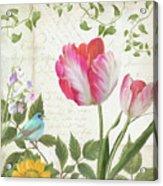 Les Magnifiques Fleurs IIi - Magnificent Garden Flowers Parrot Tulips N Indigo Bunting Songbird Acrylic Print