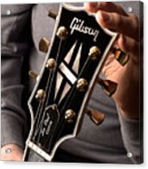 Les Paul - Hands And Gibson Headstock By Gene Martin Acrylic Print