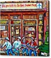 Les Scenes De Pointe St Charles Les Produits Smoked Meat Avec Partie De Hockey Acrylic Print