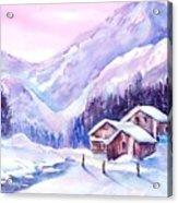Swiss Mountain Cabins In Snow Acrylic Print