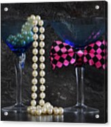 Lets Party Vintage Blue Martini Glasses On Black Sla Acrylic Print
