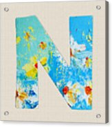 Letter N Roman Alphabet - A Floral Expression, Typography Art Acrylic Print