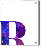 Letter R Galaxy In White Background Acrylic Print