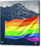 Lgbtq Rainbow Flag With Snowy Mountain Background View Acrylic Print