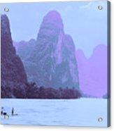 Li River Boaters Acrylic Print