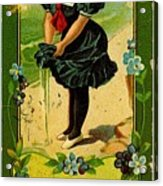 Libbys Bookmark Vintage With Girl On Beach Acrylic Print
