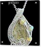 Libyan Desert Glass Meteorite Impactite Pendant In Sterling Silver With Ethiopian Opals Ldgpss11 Acrylic Print