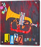License Plate Art Jazz Series Number One Trumpet Acrylic Print