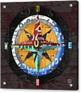 License Plate Compass North South East West Road Trip Letters On Old Red Barn Wood Acrylic Print