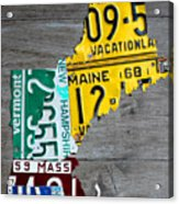 License Plate Map Of New England States Acrylic Print