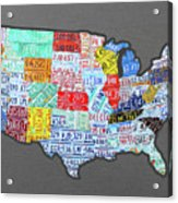License Plate Map Of The United States Edition 2016 On Steel Background Acrylic Print