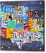 License Plate Map Of The Usa On Blue Wood Boards Acrylic Print