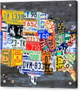 License Plate Map Of The Usa On Gray Distressed Wood Boards Acrylic Print