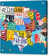License Plate Map Of The Usa On Royal Blue Acrylic Print