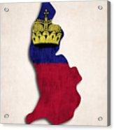Liechtenstein Map Art With Flag Design Acrylic Print