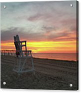 Lifeguard Stand On The Beach At Sunrise Acrylic Print