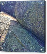 Light And Lichen On Eroded Basalt Acrylic Print
