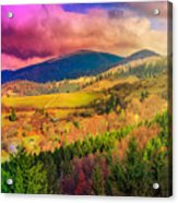 Light  Beam Falls On Hillside With Autumn Forest In Mountain Acrylic Print