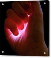 Light Captured In Child's Hand Acrylic Print