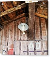 Light Hanging Inside An Old Wooden Hut Acrylic Print