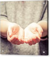 Light In Young Woman's Hands Acrylic Print
