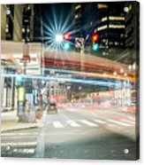 Light Trails On 17th And Market Acrylic Print