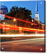 Light Trails In Front Of Bentonville Record And Water Tower Acrylic Print