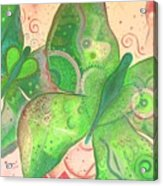 Lighthearted In Green On Red Acrylic Print