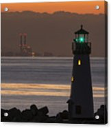 Lighthouse And Power Plant At Dawn Acrylic Print