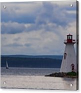 Lighthouse And A Sail Boat In Nova Scotia Acrylic Print