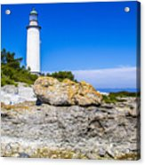 Lighthouse And Rocks Acrylic Print