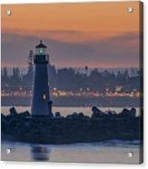 Lighthouse And Wharf At Dusk Acrylic Print