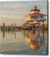 Lighthouse Glow And Reflection  Acrylic Print