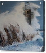 Lighthouse In A Storm Acrylic Print by David Hawkes