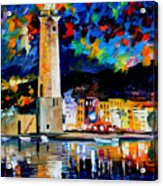Lighthouse In Crete - Palette Knife Oil Painting On Canvas By Leonid Afremov Acrylic Print