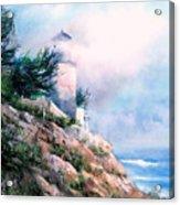 Lighthouse In The Mist Acrylic Print