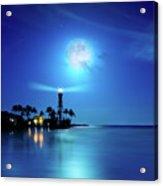 Lighthouse Moon Acrylic Print by Mark Andrew Thomas