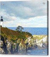 Lighthouse On A Jetty. Acrylic Print