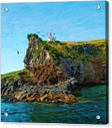 Lighthouse On Cliff Dunedin New Zealand Acrylic Print