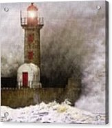Lighthouse Weathering A Storm At Sea H A Acrylic Print