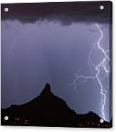 Lightnin At Pinnacle Peak Scottsdale Arizona Acrylic Print