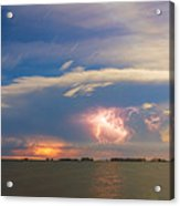 Lightning At Sunset With Star Trails Acrylic Print