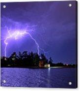 Lightning Bolt Cracks Over Lake Wendouree Acrylic Print