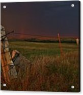 Lightning Bolt Over Post Rock Country, North Central, Kansas Acrylic Print