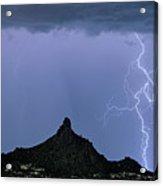 Lightning Bolts And Pinnacle Peak North Scottsdale Arizona Acrylic Print