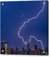 Lightning Bolts Over New York City Acrylic Print