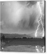 Lightning Bolts Striking Longs Peak Foothills 6bw  Acrylic Print