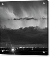 Lightning Cloud Burst Black And White Acrylic Print