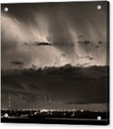 Lightning Cloud Burst Boulder County Colorado Im39 Sepia Acrylic Print